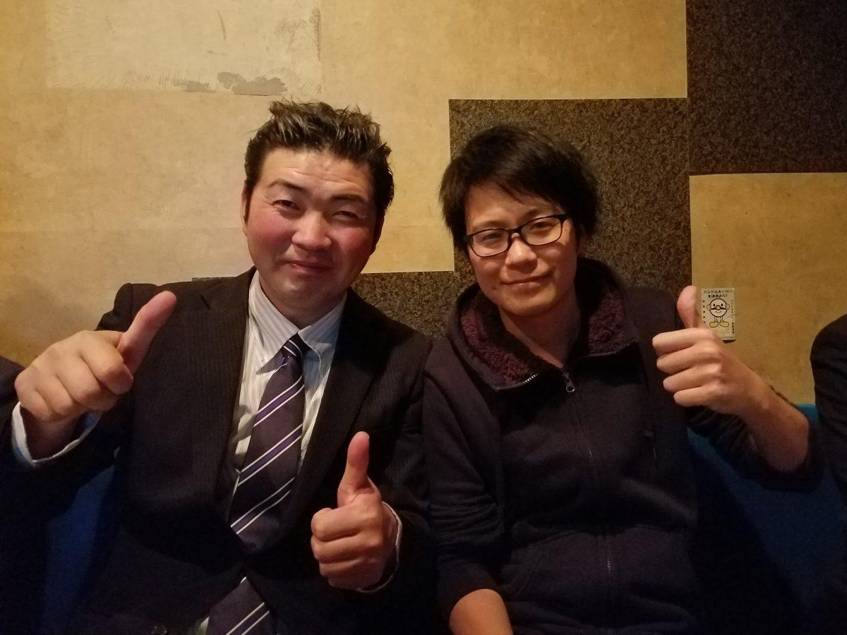 2016年度に地域愛育成委員会の事業で多くの時間を過ごした田村先輩と北村君。田「応援しているよ」北「みんなでガンバっていきます!」