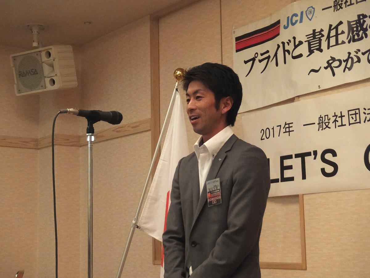 フリータイムでは設営に尽力していた稲生委員は、3分間スピーチでご自身のお仕事について発表しました。