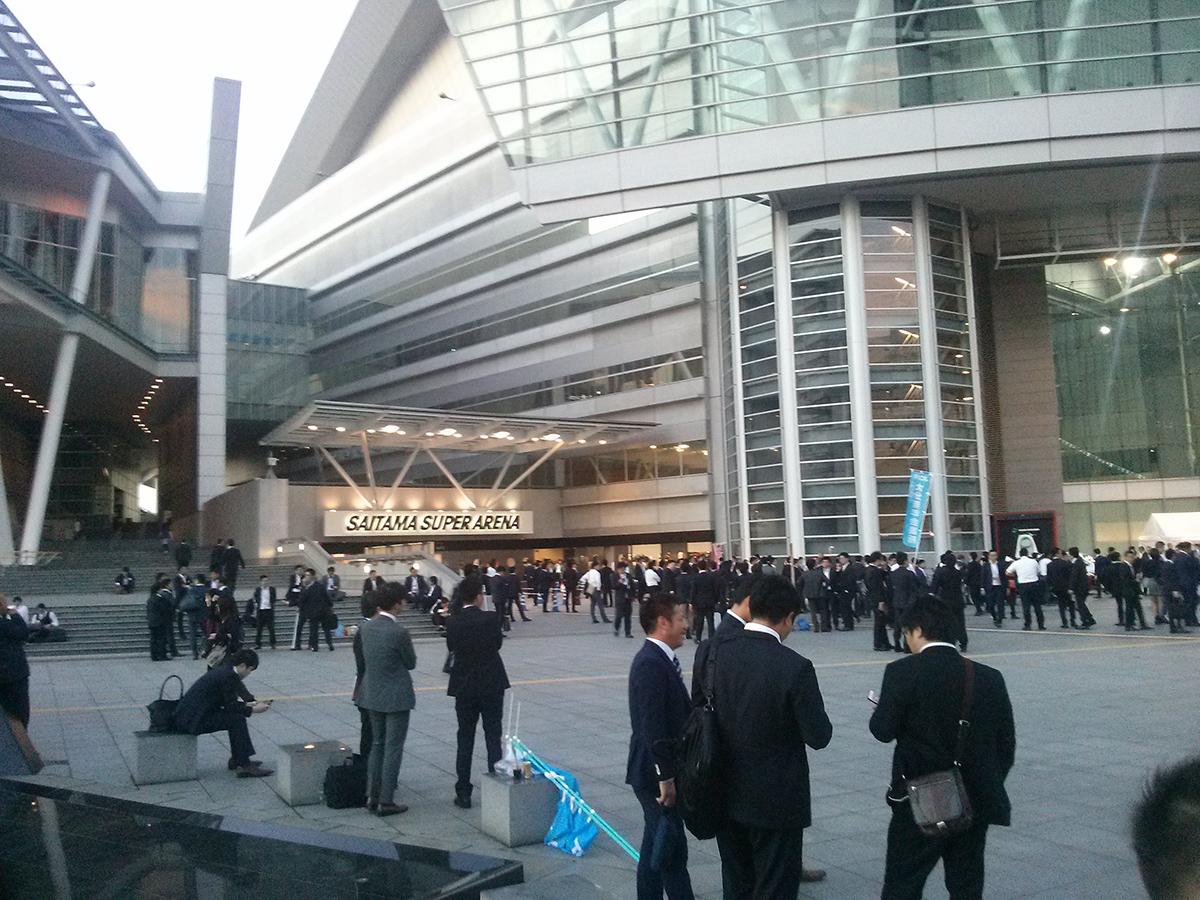 会場のひとつとなった「さいたまスーパーアリーナ」の外には、参加者の皆さんがたくさんおりました。