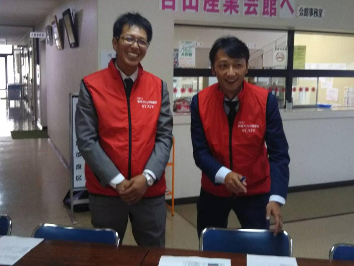 妙高JCの横山監事(左)や乗木委員(右)も、この日はブロック出向メンバーとして頑張っておりました。